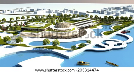 Spa and Hotel Aerial View Render  - stock photo