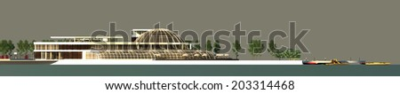 Spa and Hotel Render Facade - stock photo