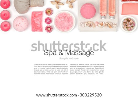 spa and massage elements on white background - stock photo