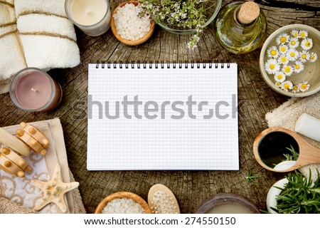 Spa and wellness. Dayspa nature setting with copy space. Spa beauty products. - stock photo