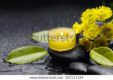 Spa and wellness image-leaf , gerbera, candle, stones