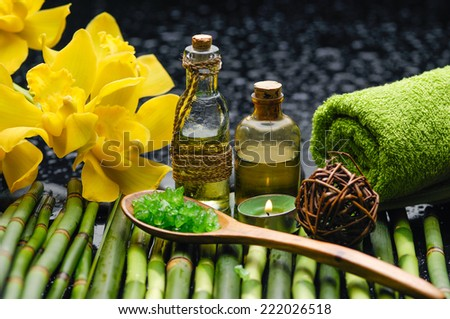 Spa and wellness on bamboo grove mat - stock photo
