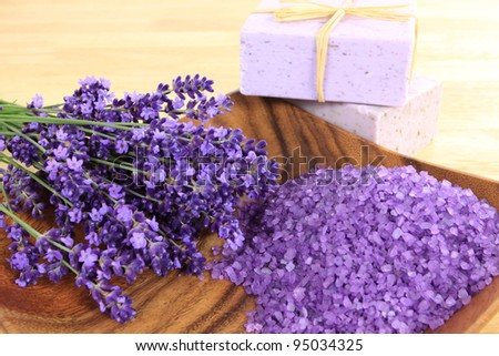 Spa and wellness resort. Lavender soap and salt with lavender flower. - stock photo