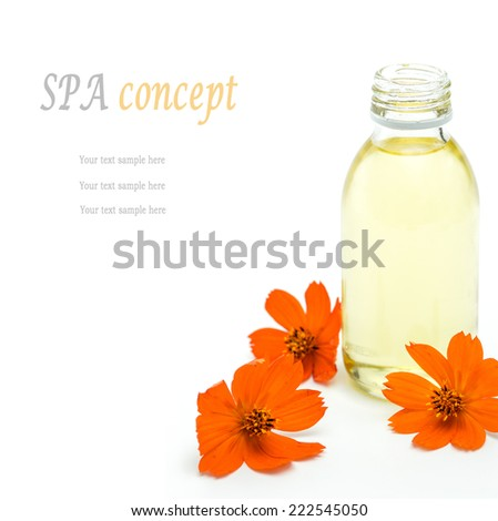 Spa and wellness setting with oil essence and flowers isolated. Relax and treatment therapy. White background. Selective focus. Close up. - stock photo