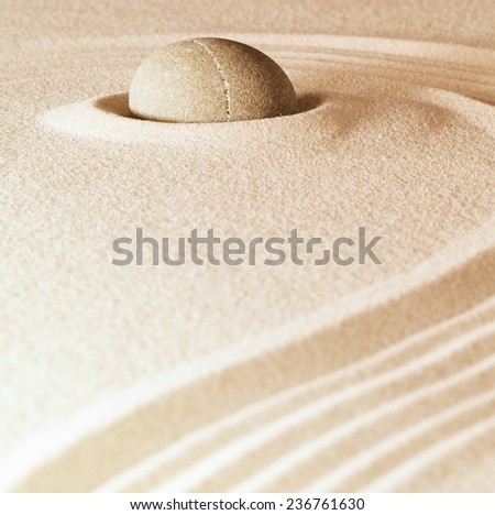 spa and zen background sand and stone with lines relaxation and meditation concept for purity spirituality serenity calmness peaceful harmony simplicity relax copyspace - stock photo