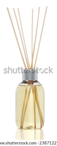 Spa aromatherapy on white. Vanilla oil diffuser isolated