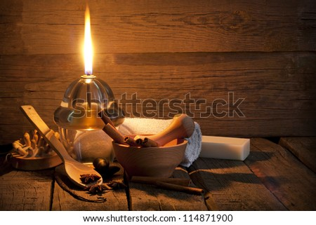 Spa aromatherapy vintage still life in night concept - stock photo