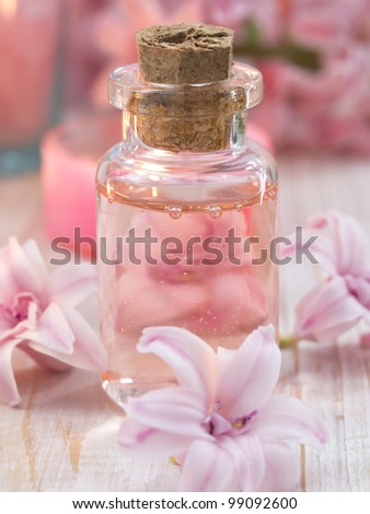 spa arrangement with lilly flowers - stock photo