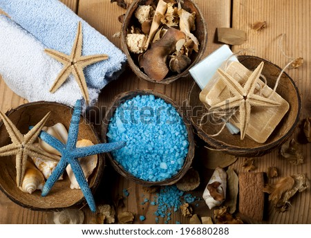 Spa background in the range of brown and blue. - stock photo