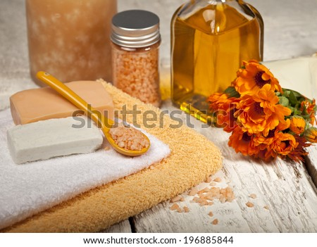 Spa background in the range of orange and white. - stock photo