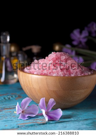 Spa background, salt - stock photo