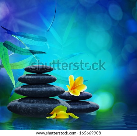 spa background: stones and leaves  - stock photo