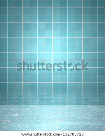 Spa background with bathroom tiles and water - stock photo