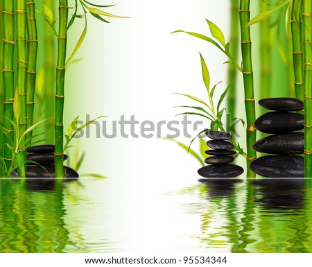 Spa bamboo background with water surface - stock photo