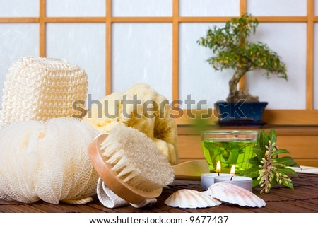 Spa bath products and herbal tea against a japanese traditional shoji sliding window