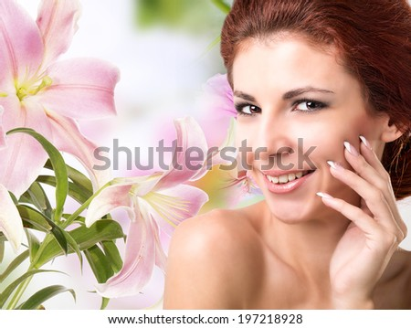 Spa.Beautiful girl with flowers