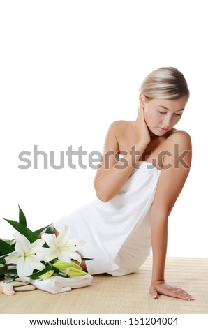 Spa beautiful woman isolated on white background - stock photo