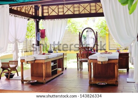 spa beauty and massage center indoors outdoor - stock photo
