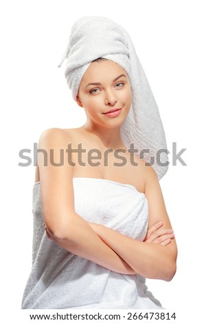 Spa beauty treatment woman wearing white towels. Happy smiling caucasian female model isolated on white background. - stock photo