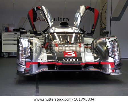 SPA, BELGIUM - MAY 2: An Audi R18 prototype car in the pits at circuit Spa-Francorchamps May 2, 2012 in Spa, Belgium. - stock photo