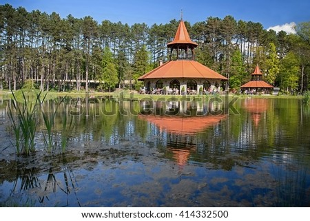 Spa Bojnice, Slovakia, Europe. Tower restaurant in garden park.