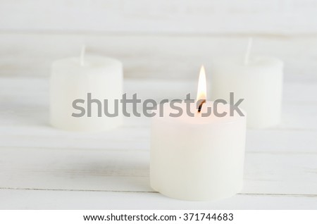 Candle spa stock images royalty free images vectors shutterstock spa candles burning on white vintage wooden background sciox Images