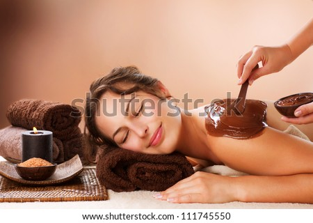 Spa Chocolate Mask. Luxury Spa Treatment . Dayspa - stock photo