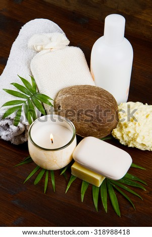 spa coconut products on wood - stock photo