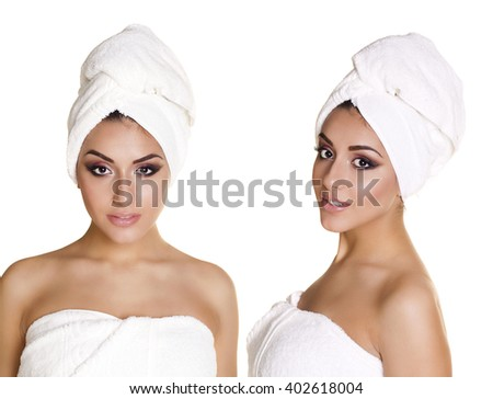 Spa Collage. Beautiful young arabic women in white towel, isolated over white background  - stock photo