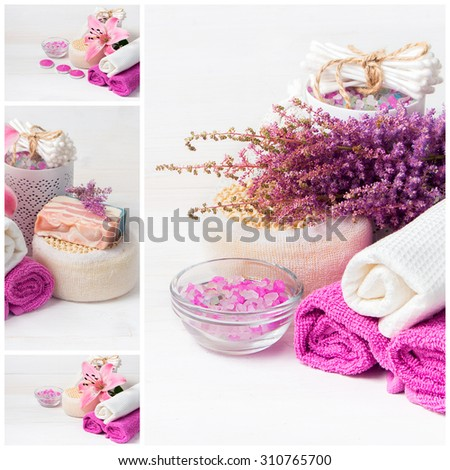 Spa collage. Flower, sea salt, towels  and objects for spa procedures on a white wooden background. - stock photo