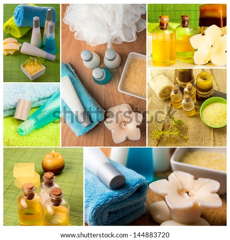 Spa collage series. Collage of wellness products. Soap, candles, and towels in fresh dayspa setting.  - stock photo
