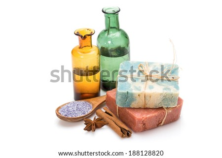 Spa collection. Handmade soap, sea salt and massage oil isolated on white background - stock photo