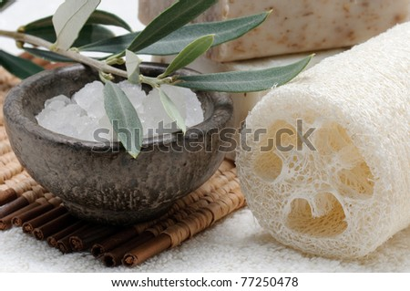 Spa collection, natural sponge, sea salt and olive soap