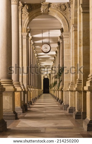 spa colonnade at night - stock photo