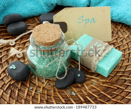 spa composition of bath salt, soap and stones