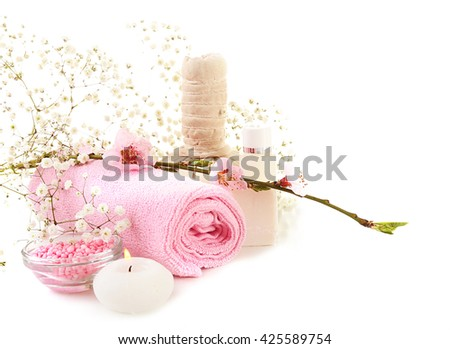 Spa composition with blooming branch - stock photo