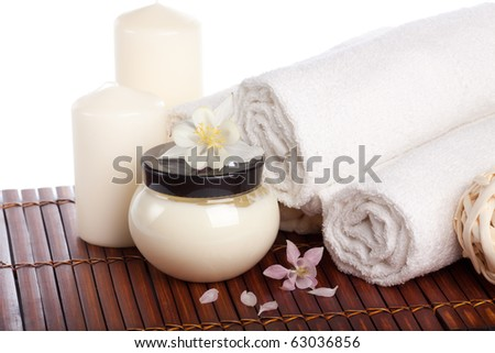 Spa composition with flower on a white background. - stock photo