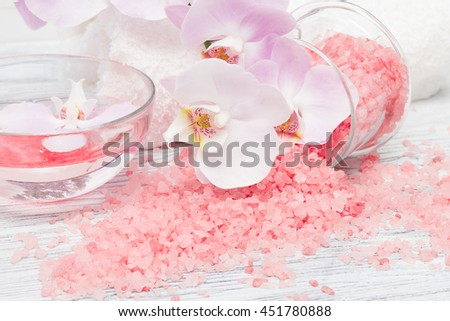 Spa composition with pink orchid