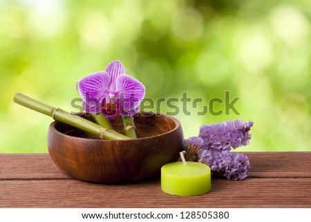 spa concept, backgrounds and decoration of the sauna - stock photo