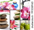 Spa concept. Collage with spa stones, flowers, candles and essential oil - stock photo