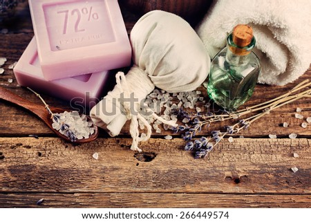 SPA concept, lavender soap on a wooden background - stock photo