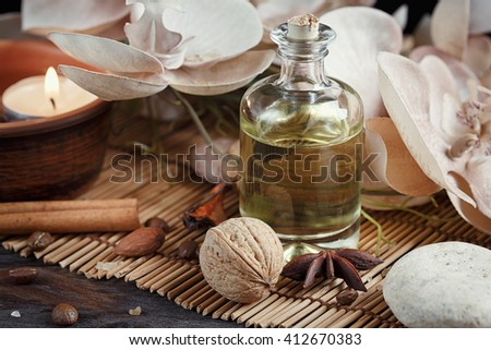 SPA concept: natural sea salt with coffee beans, cinnamon and anise star