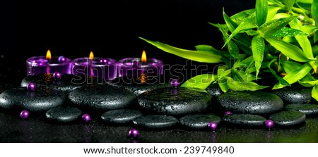 spa concept of zen basalt stones with drops, lilac candles, beads and bamboo, panorama - stock photo
