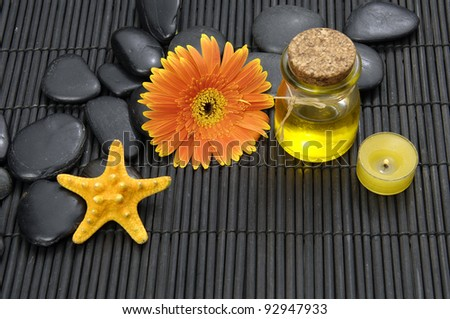 spa concept on straw mat - stock photo