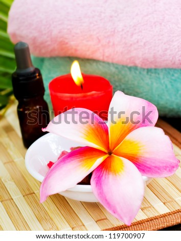 Spa concept setting with plumeria flowers