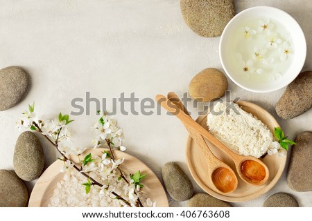 Spa concept, spa background, stylized photo, top view,  with a space for a text - stock photo