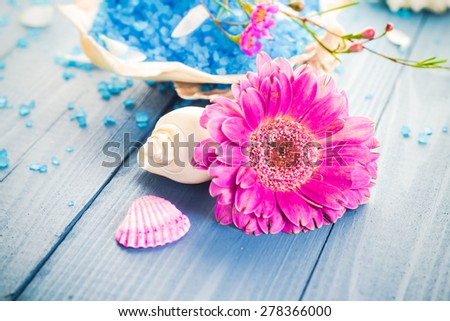 Spa concept with aromatic flower and bath salt - stock photo