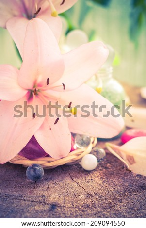 Spa concept with flower lily and salt bathing - stock photo