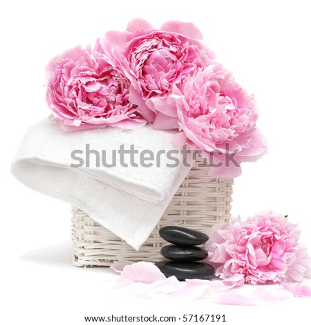 spa concept with flower, towel and stones isolated on white. Soft focus - stock photo