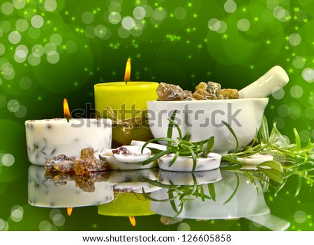 Spa concept with rosemary in black - stock photo